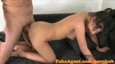 FakeAgent Hot raven haired babe fucked hard and spunked over in Office