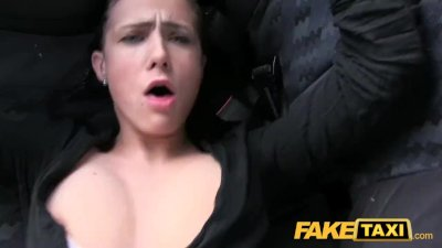 Fake Taxi Big natural bouncing tits brunette in Czech taxi
