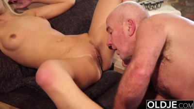 Hairy Grandpa Fucks Teen Blonde Blowjob and Doggystyle for Sex Nympho
