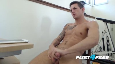Hung Hunk Aidan Blue Shoots a Big Load On His Perfect Toned Body