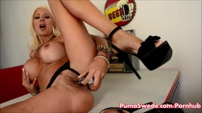 Euro babe Puma Swede Gets Off With Glass Dildo!
