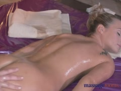 Massage Rooms Teen lesbian rides the oily fingers of her sexy blonde client