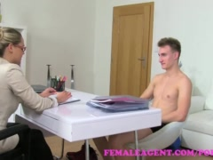FemaleAgent. MILF gets an unexpected creampie from saucy stud
