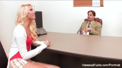 Sexy blonde Vanessa Cage seduces the dean