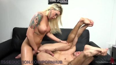 Gorgeous Blonde TS Gets Her Dick Sucked