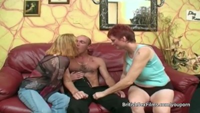 Saggy bellied pale mature redhead has a threesome with a couple