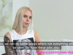 FemaleAgent Tattooed blonde makes a sexual deal