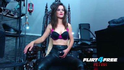 Smokin\' Hot Mistress Humiliates Slave with Strap-on.
