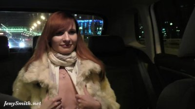 Jeny Smith gets naked on the back seat of taxi