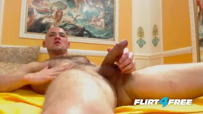 Big Dick Bald Guy Blows a Banana Then Blows a Load