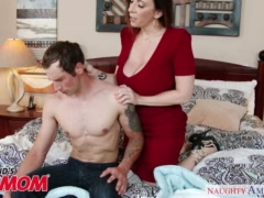 Busty MILF Sara Jay seduces, sucks and fucks her son\'s bud -Naughty America