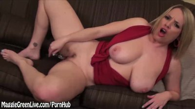 Busty Blonde Maggie Green Cums With Glass Dildo!