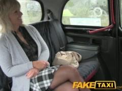 FakeTaxi Blonde milf fucks taxi driver on backseat